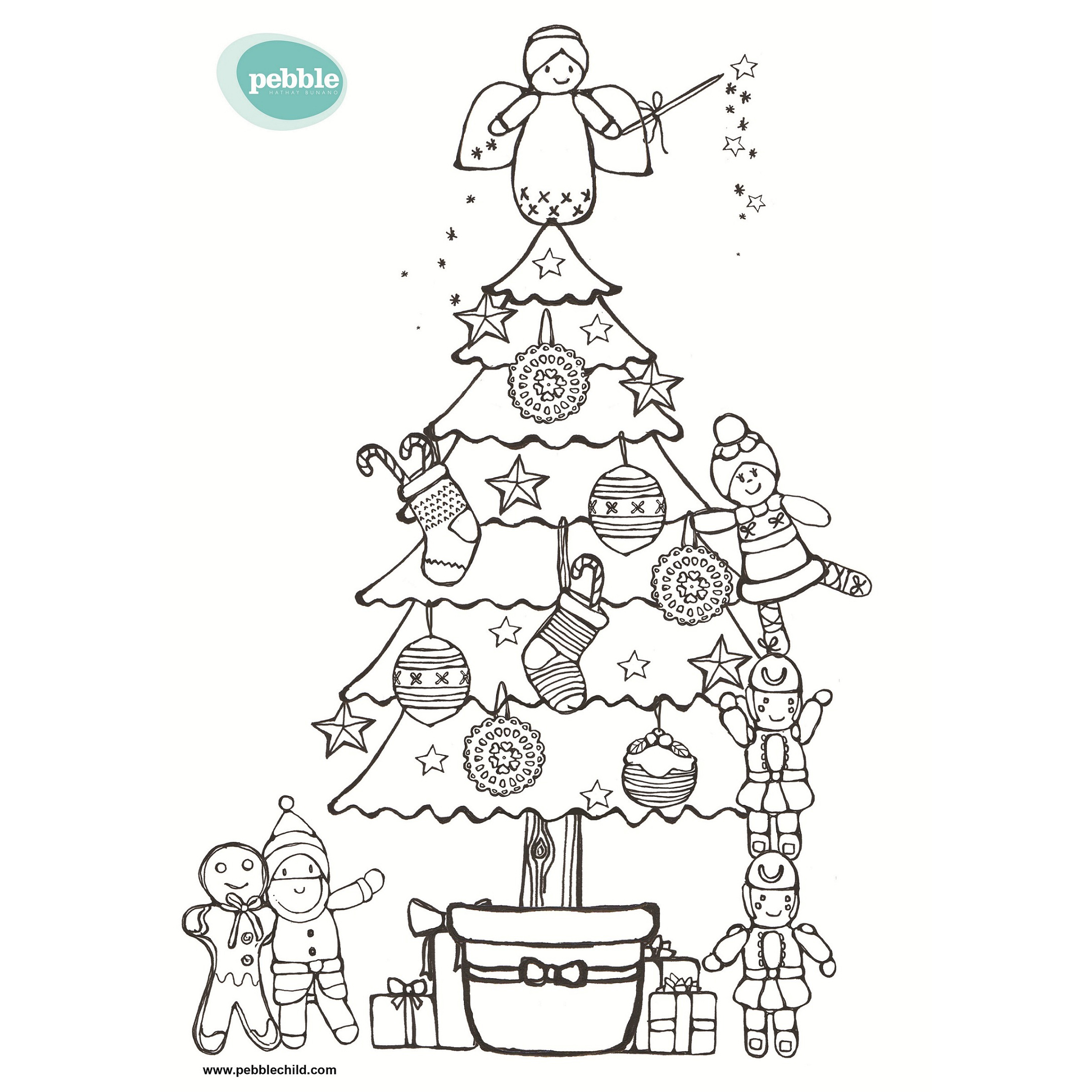Christmas colouring sheets - Pebblechild
